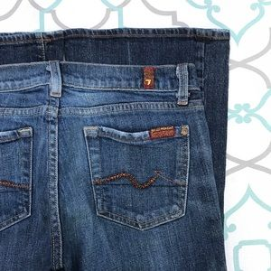 """💙👖AWESOME 7FAM BOOTCUT JEANS👖💙27 3/4 30"""" BLING"""